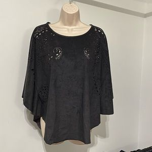 ALBERTO MAKALI faux suede poncho top